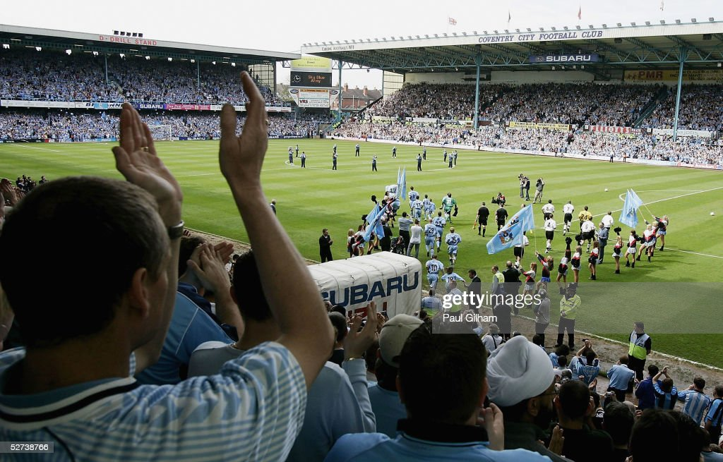 Coventry City players make their way onto the pitch for the final time at Highfield Road during the CocaCola Championship match between Coventry City...
