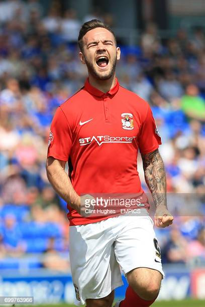 Coventry City's Adam Armstrong celebrates after he scores his side's second goal of the game