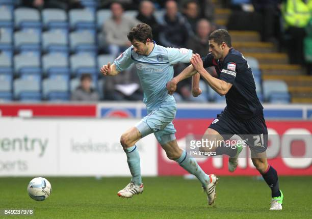 Coventry City's Adam Barton and Preston North End's John Mousinho during the npower Football League one match at the Ricoh Arena Coventry