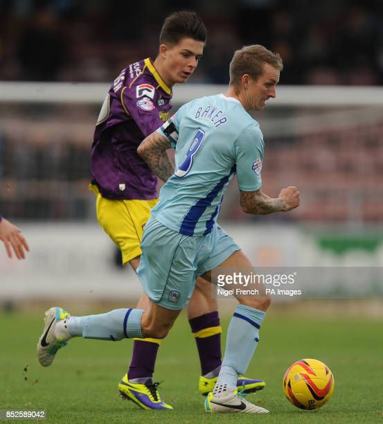 Coventry City's Carl Baker and Notts County's Jack Grealish battle for the ball during the Sky Bet League One match at Sixfields Northampton