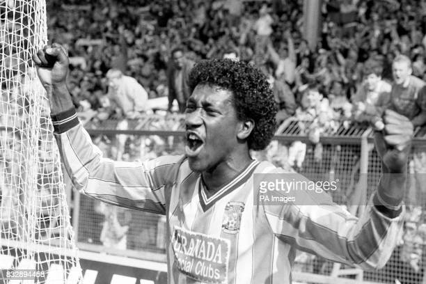 Coventry City's Dave Bennett celebrates after scoring the winning goal in the eighth minute of extra time in the FA Cup Semi Final against Leeds...
