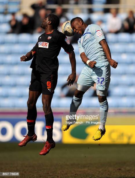 Coventry City's Franck Moussa and Brentford's Clayton Donaldson