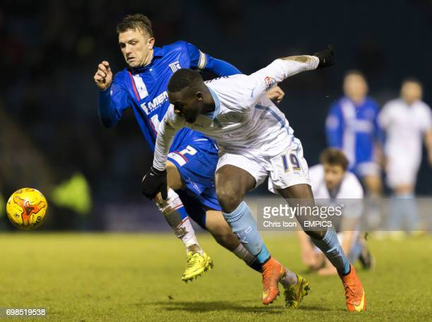 Coventry City's Frank Nouble in action against Gillingham's Doug Loft