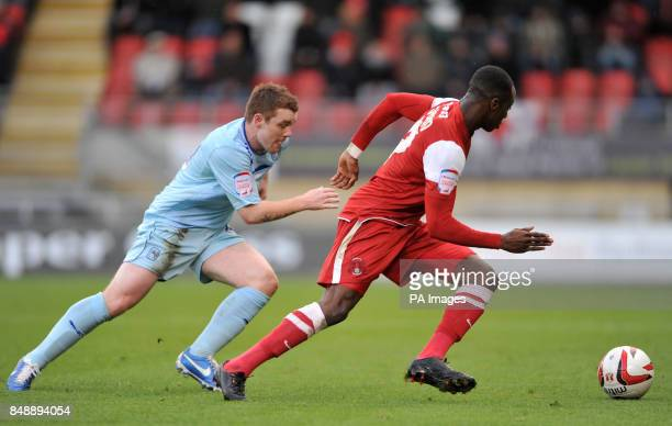 Coventry City's John Fleck and Leyton Orient Moses Odubajo battle for the ball during the npower League One match at Brisbane Road London