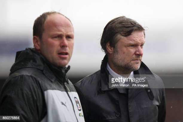 Coventry City's manager Steve Pressley and assistant Neil MacFarlane on the touchline