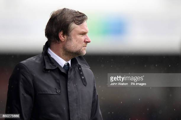 Coventry City's manager Steve Pressley on the touchline