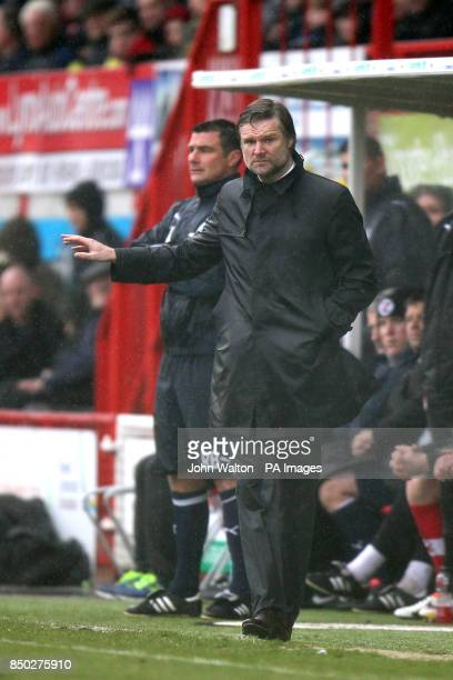 Coventry City's Manager Steven Pressley gestures on the touchline