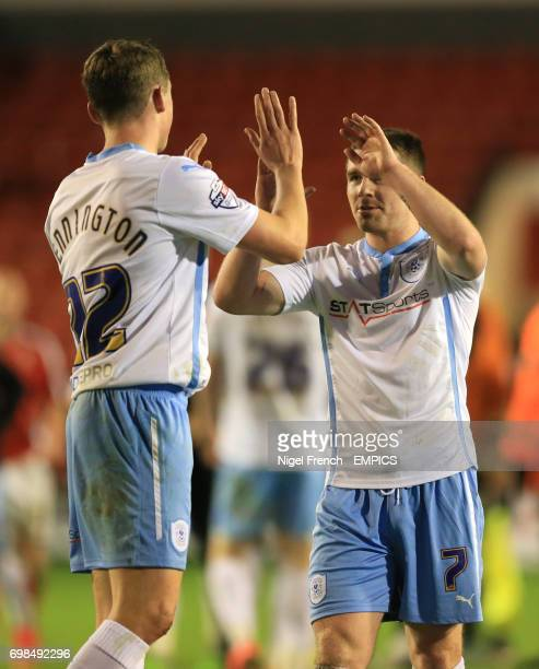 Coventry City's Matthew Pennington and John Fleck celebrate after the final whistle against Walsall