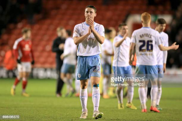 Coventry City's Matthew Pennington celebrates victory after the final whistle