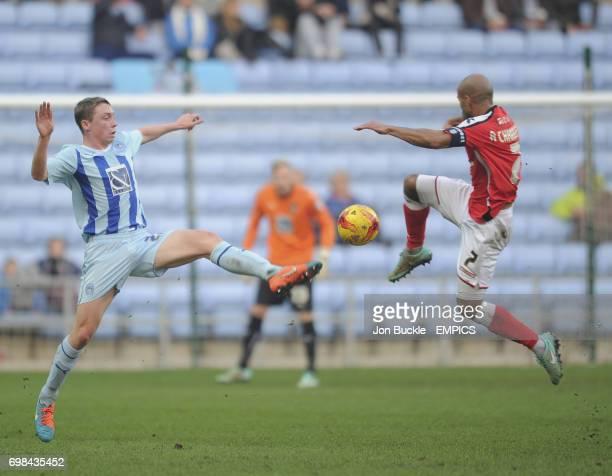 Coventry City's Matthew Pennington challenges Walsall's Adam Chambers