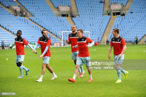 Coventry City's Mohamed Coulibaly James O'Brien Marcus Tudgay Danny Swanson and John Fleck during the warm up