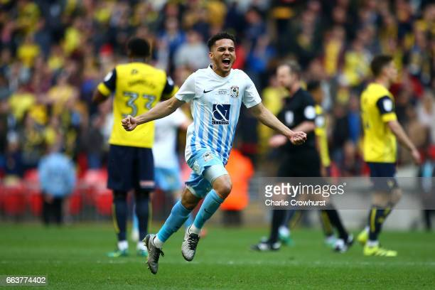 Coventry's Dion KellyEvans celebrates the teams win at the final whistle during the EFL Checkatrade Trophy Final between Coventry City and Oxford...