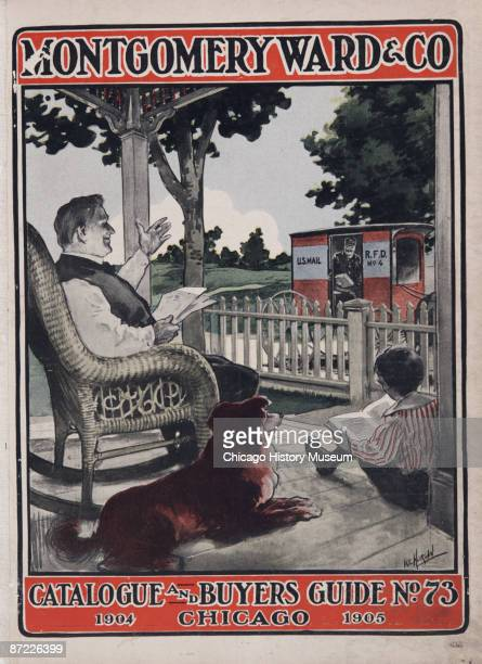 Cover for Montgomery Ward Company's 1904 mail order catalogue and buyer's guide Chicago 1904 The cover depicts a father greeting the mailman while...