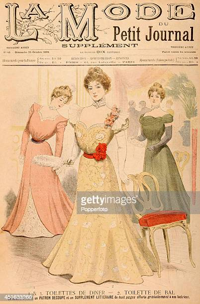 A cover illustration from a Supplement to 'La Mode du Petit Journal' a French fashion publication featuring three stylish ladies at a social...
