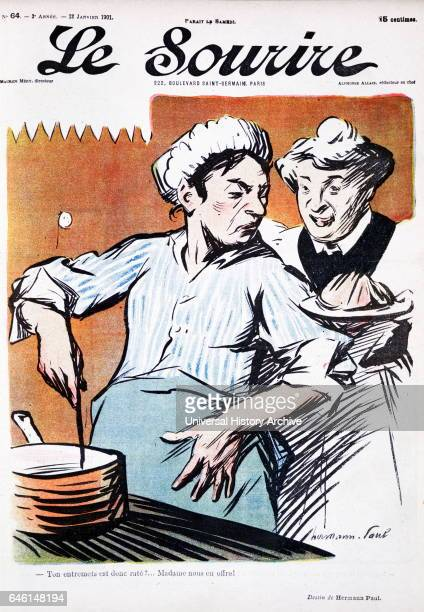 Cover illustration from the French magazine 'le sourire' showing two domestic cooks at a stove 1901 'Le Sourire' was a French weekly satirical...