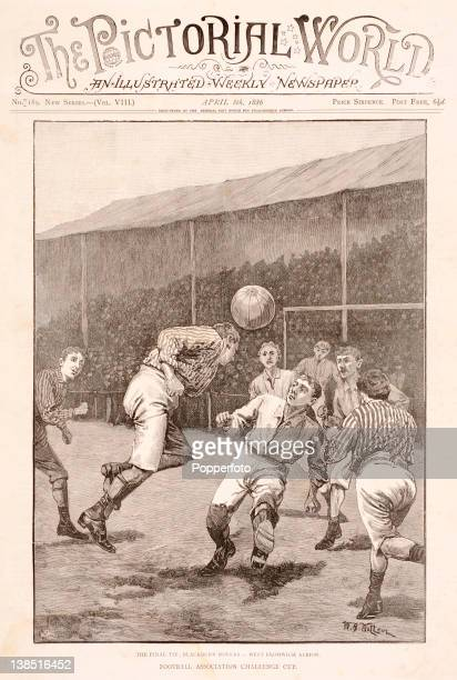 Cover illustration from the Pictorial World published in April 1886 featuring action from the English FA Cup Final between Blackburn Rovers and West...