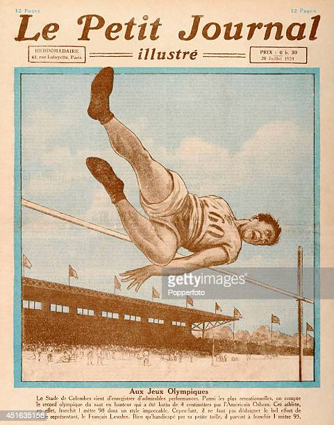 A cover illustration of 'Le Petit Journal' a French illustrated publication featuring Harold Osborn the gold medal winner in the decathlon and high...