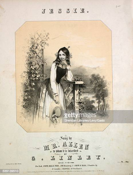 Cover image of sheet music for the song 'Jessie ' sung by a 'Mr Allen' and composed by 'G Linley ' with a black and white illustration of a young...