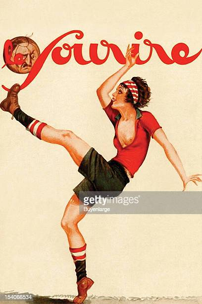 Cover of a wartime magazine with a woman striking a soccer ball bearing a face mid 20th century