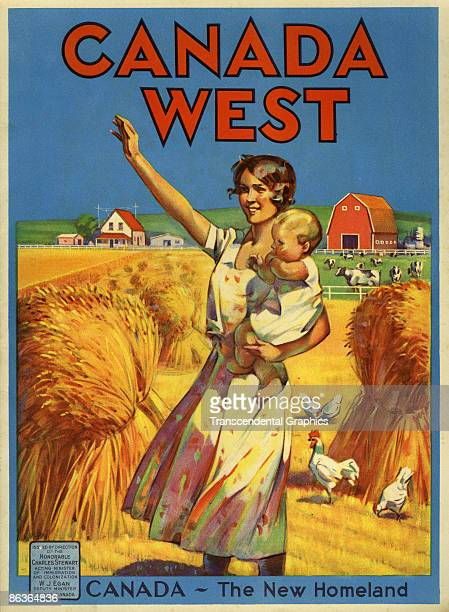 Cover of an unspecified issue of Canada West an annual publication of Canada's Department of the Interior depicts a woman as stands in a field an...