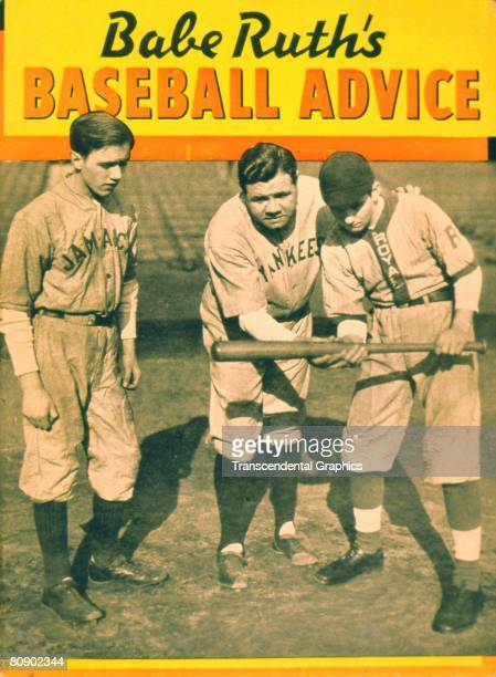 Cover of Babe Ruth's Baseball Advice magazine The photo depicts Babe Ruth teaching two young boys how to bunt