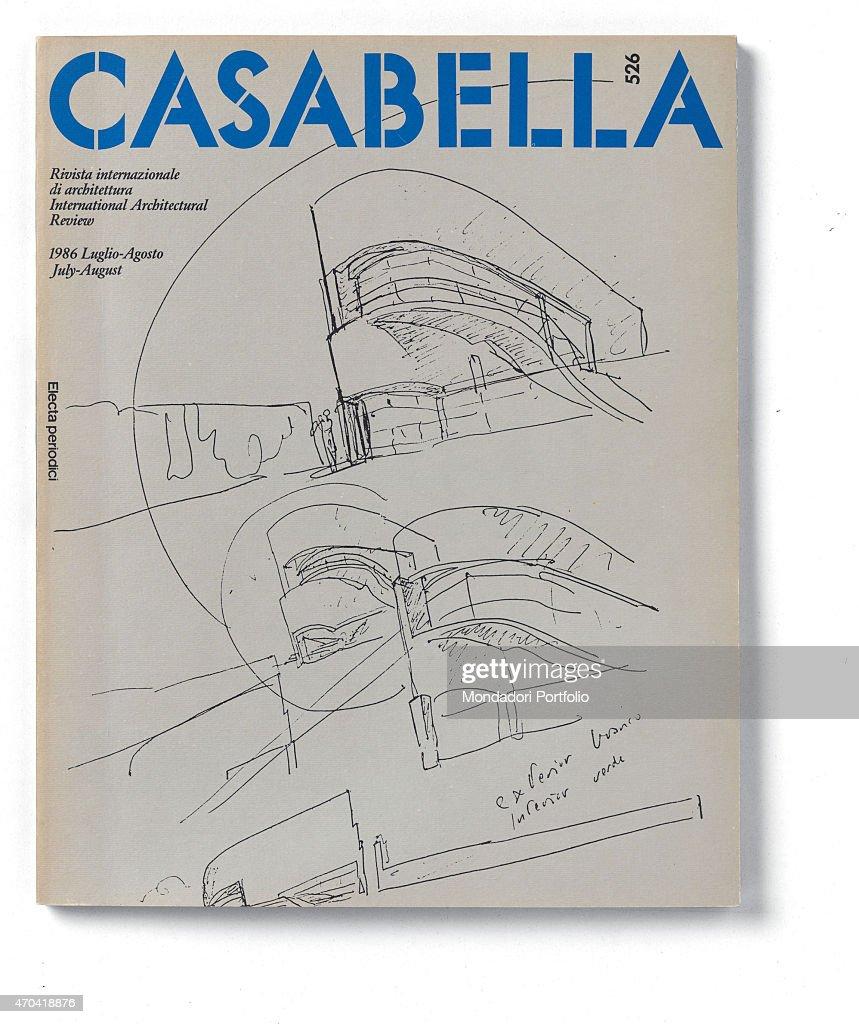 'Cover of Casabella N 526 JulyAugust 1986 20th Century graphic 31 x 28 cm Italy Lombardy Milan Arnoldo Mondadori Editore Whole artwork view Blue...