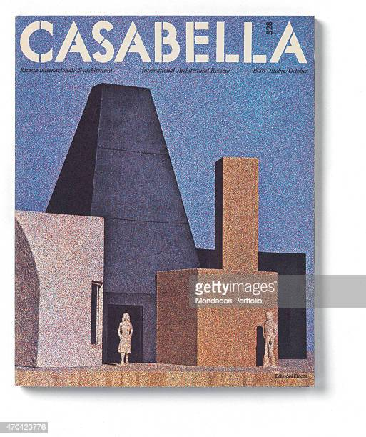'Cover of Casabella N 528 October 1986 20th Century graphic 31 x 28 cm Italy Lombardy Milan Arnoldo Mondadori Editore Whole artwork view White...