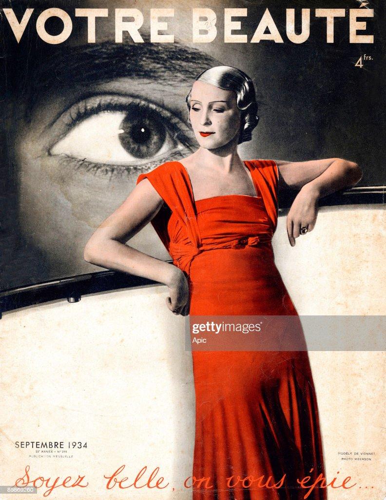 Cover of french magazine 'Votre Beaute' september 1934 dress by Vionnet