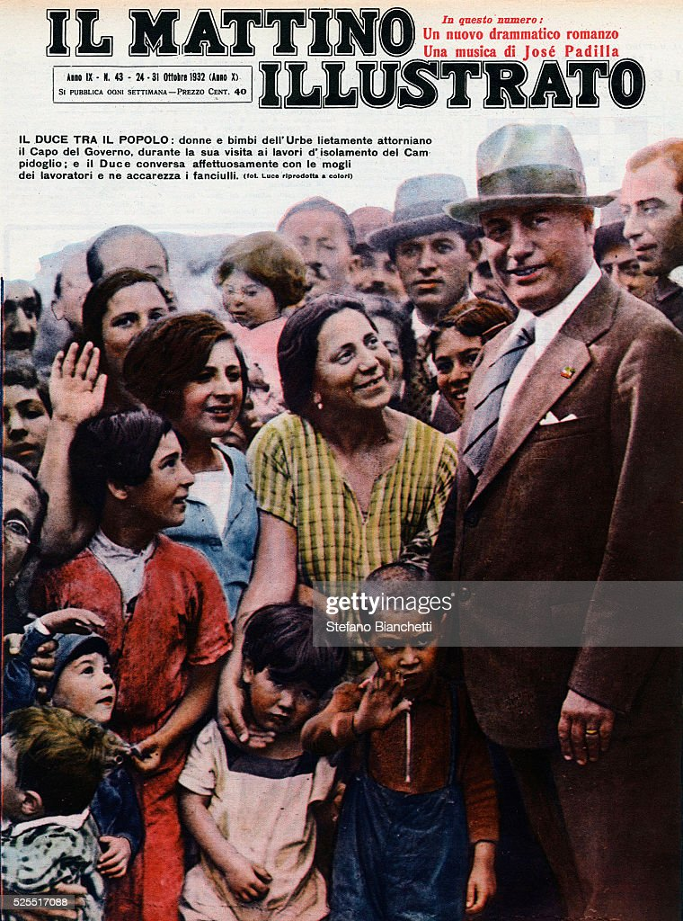 Cover of Il Mattino Illustrato featuring Italian dictator Benito Mussolini surrounded by women and children.