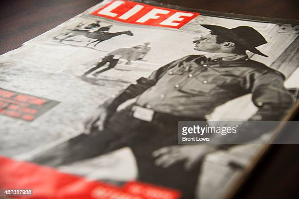 A cover of Life Magazine that featured rodeo star Casey Tibbs in 1951 on Friday July 24 2015 at Tipping Point Solutions in Centennial Colorado...