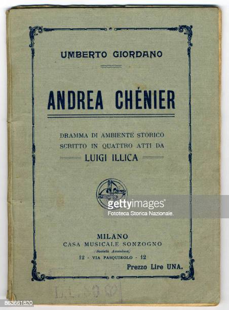 Cover of the booklet of the opera 'Andrea Chenier' historical opera in four acts by the composer Umberto Giordano set to an Italian libretto by Luigi...
