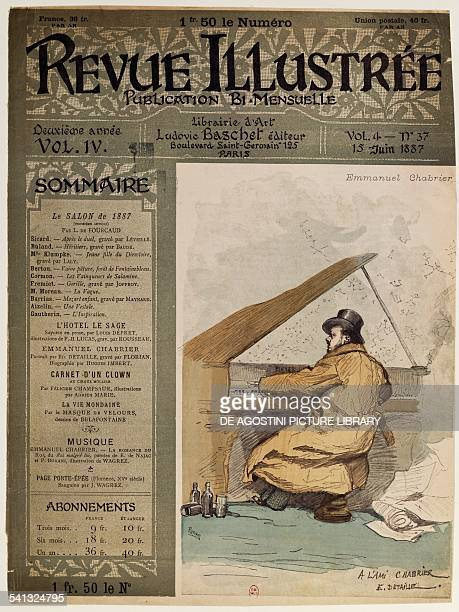 Cover of the Revue Illustre with composer Alexis Emmanuel Chabrier at the piano Paris June 15 1887 France 19th century Paris Bibliothèque Nationale...