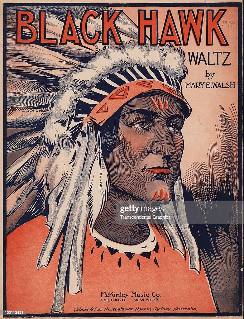 Cover of the sheet music for the 'Black Hawk Waltz' by Mary E. Walsh, which depicts a close-up of an Native American in a ceremonial headdress, published by McKinley Music in the USA and distributed in Australia by Albery & Son, 1919.
