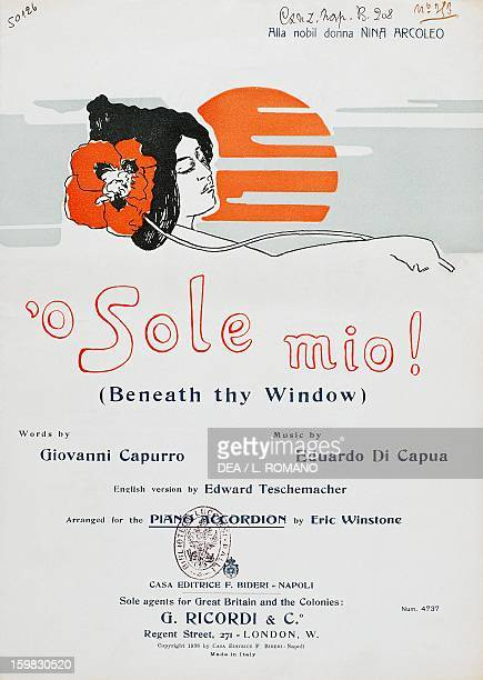 Cover of the sheet music for the English version of 'O sole mio words by Giovanni Capurro music by Eduardo di Capua Naples Biblioteca Nazionale...