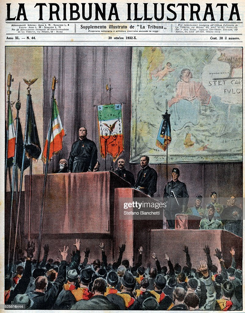 Cover of the Tribuna Illustrata featuring Italian dictator <a gi-track='captionPersonalityLinkClicked' href=/galleries/search?phrase=Benito+Mussolini&family=editorial&specificpeople=90389 ng-click='$event.stopPropagation()'>Benito Mussolini</a> speaking at the Piazza Venezia in Rome during celebrations for the tenth anniversary of the Fascist revolution.