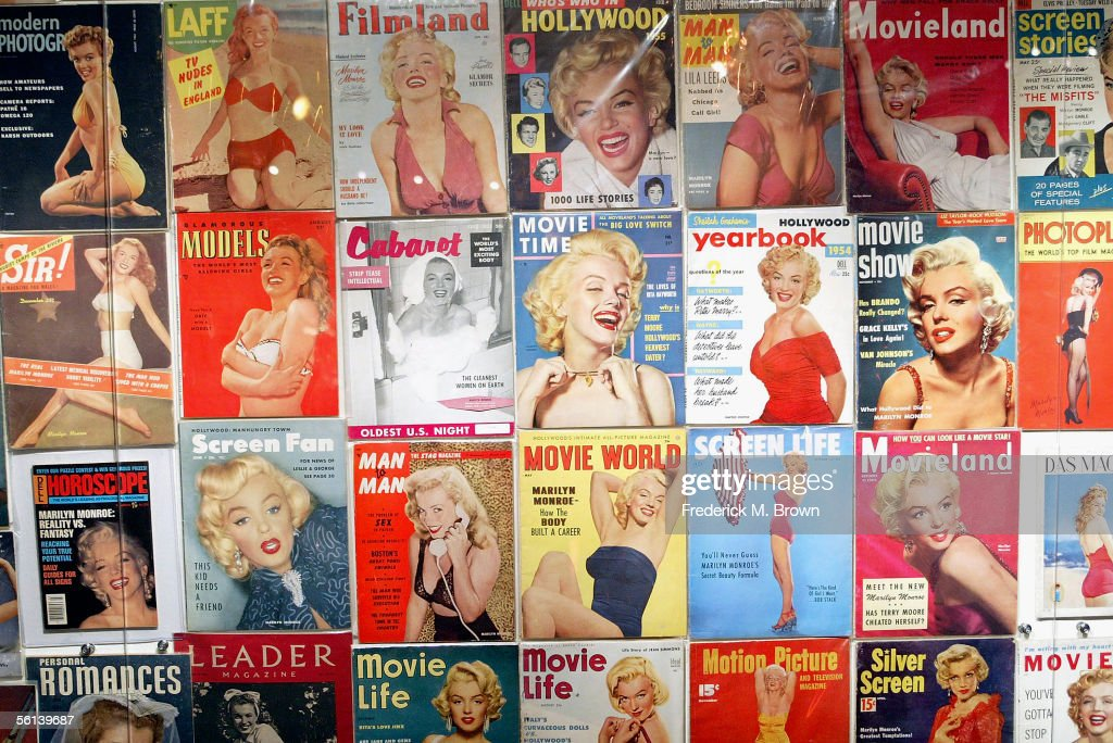 Cover photographs from magazines of the late actress Marilyn Monroe on display during the unveiling of the Marilyn Monroe Exhibit at the Queen Mary on November 10, 2005 in Long Beach, California. The exhibit will reach 35 locations on 6 continents. (Photo by Frederick M. Brown/Getty Images).