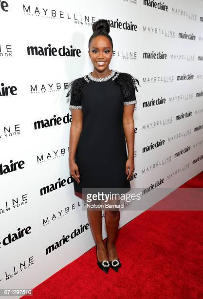 Cover star Aja Naomi King attends Marie Claire's 'Fresh Faces' celebration with an event sponsored by Maybelline at Doheny Room on April 21 2017 in...