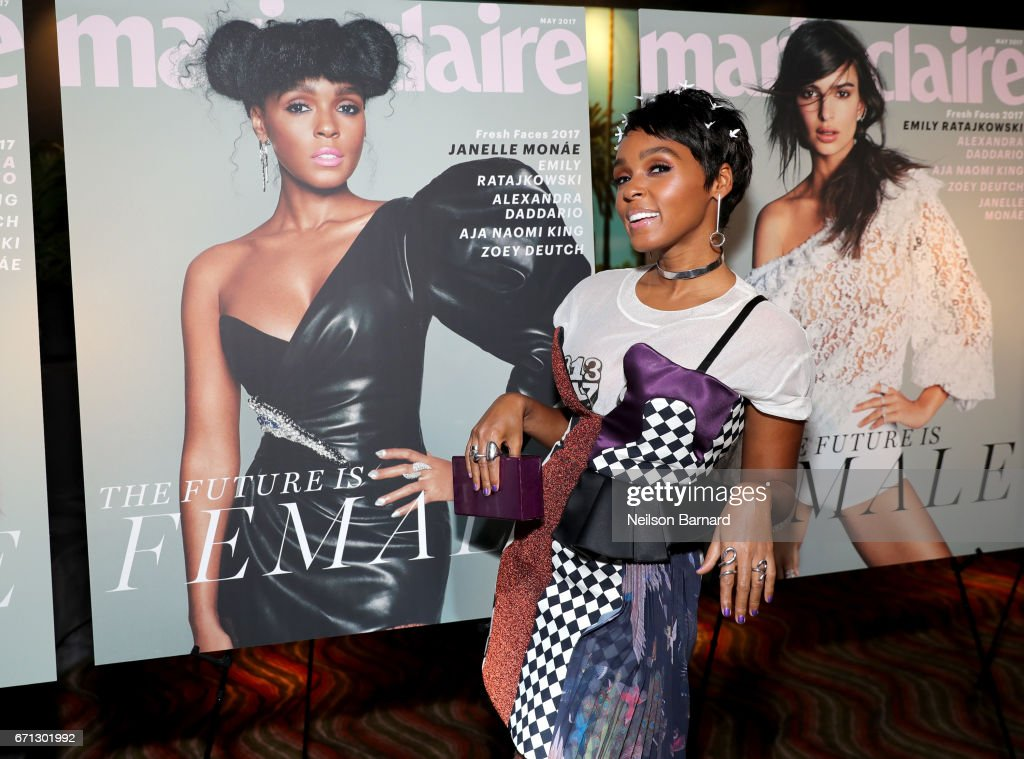 Cover star Janelle Monae attends Marie Claire's 'Fresh Faces' celebration with an event sponsored by Maybelline at Doheny Room on April 21, 2017 in West Hollywood, California.