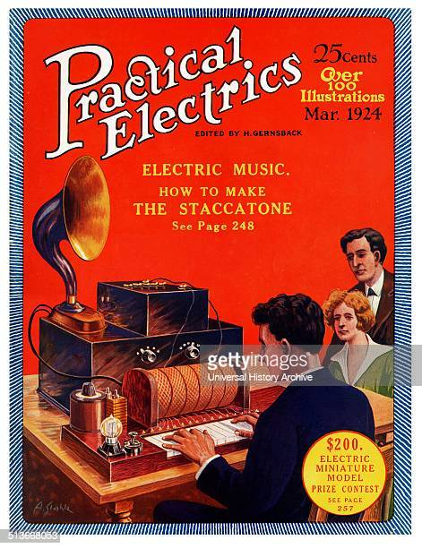 Cover to the 1924 march edition of 'Practical Electrics' shows an early recording device called a staccatone