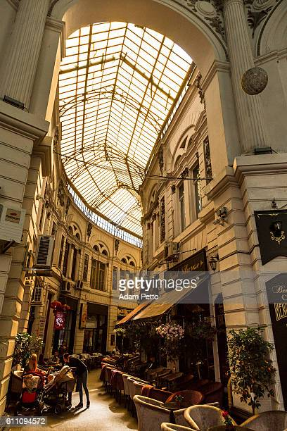 Covered arcade with bars and restaurants in Bucharest, Romania