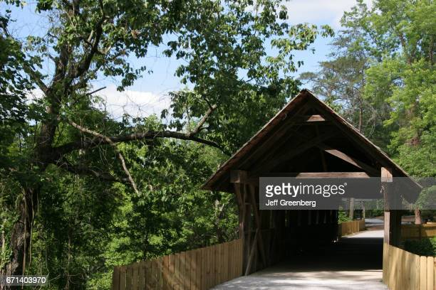 A covered bridge in Noccalula Falls Park and Campground