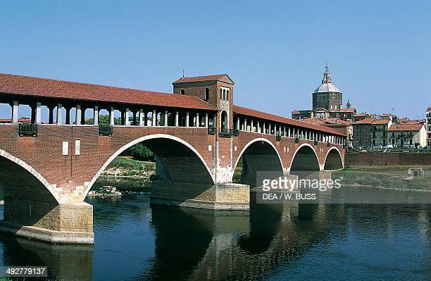 Covered bridge over the Ticino river Pavia Lombardy Italy