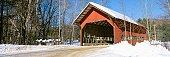 'Covered Bridge, Stowe, Winter, Vermont'