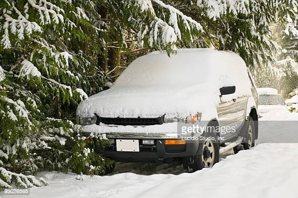 SUV covered on snow