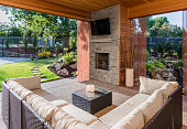 Covered patio with fireplace, tv, and couch, with view of lush green grass and landscaping