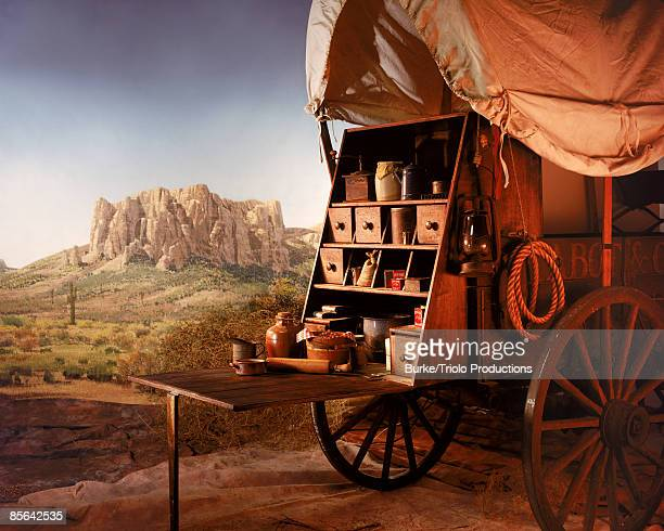 Covered wagon selling goods