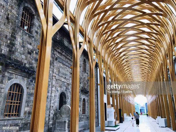 Covered Walkway By Buildings In City