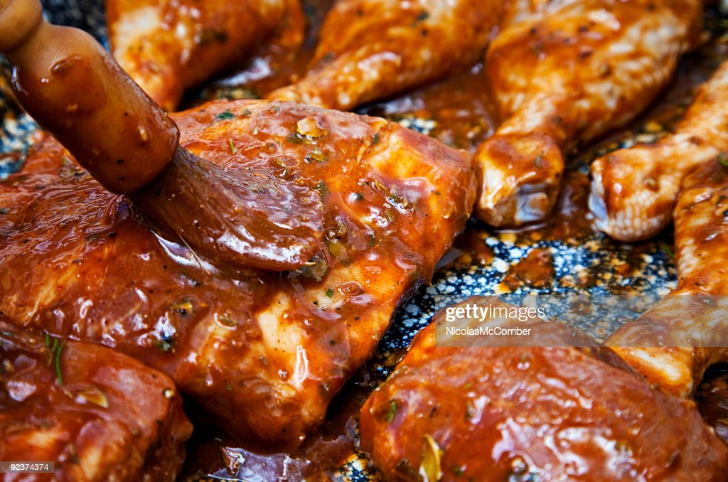 Covering Back ribs in marinade