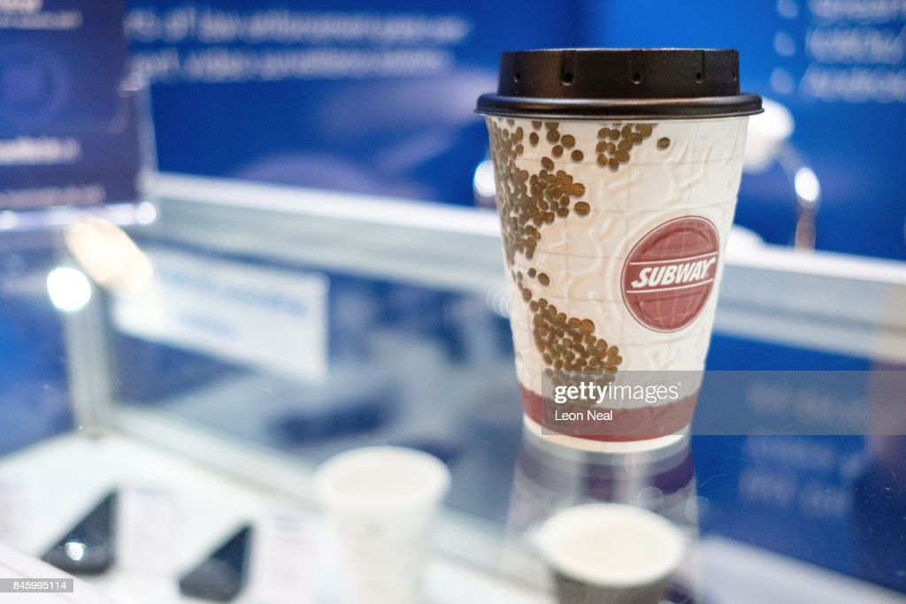 A covert recording video coffee cup lid is seen on the 'LAWmate UK' display stand at the DSEI event at the ExCel centre on September 12, 2017 in London, England. The annual weapons and security trade fair sees manufacturers of all aspects of military, naval, airforce and security from all over the world display their latest designs to delegates.