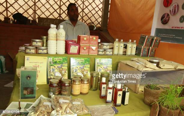 Cow products stall at Kisan Haat Andheria Modh Anuvrat Marg Desu Colony on February 18 2015 in New Delhi India